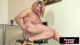 Solo chubby amateur femboi wanking cock