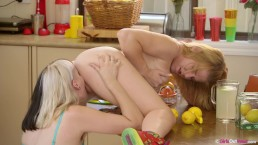 Lesbian girlfriends hairy Marina and trimmed Zelder fuck in the kitchen
