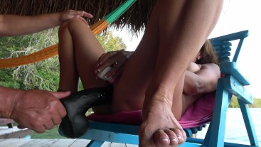 AMATEUR WIFE-OUTDOOR MASTURBATION WITH MASSIVE DILDO SQUIRTING ORGASMS