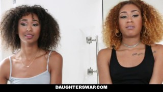 DaughterSwap - Ebony Daughters Punished & Fucked For Sneaking Out Strip dick