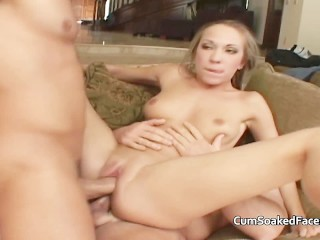 Gangbang with double penetration finishing with a mouthfull of cum for her