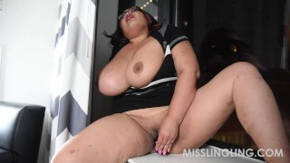 Asian Busty BBW Plays With Pussy Looking Out Window porno