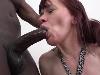 Granny mouth fuck deepthroat blowjob cumshot great interracial anal sex