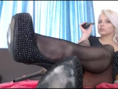 Teen Blonde With Cute Feet In Stockings Ignores You While Vaping