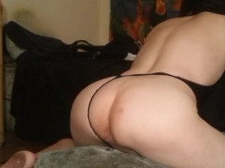 Mis cee dropping down on 10 inch dildo...