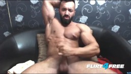 Bearded Hunk Wanks His Big Cock