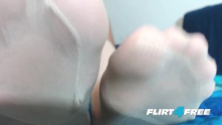 Dominates mistress slave with stockings feet and redheaded fuck redhead