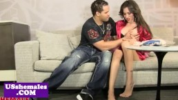 Glam latina tranny doggystyled on couch