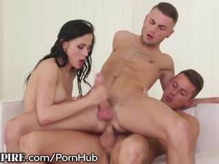 2 Guys 1 Teen Girl Blowjob