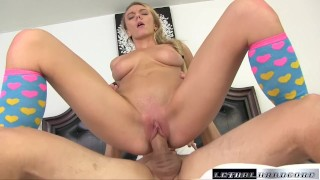 Screen Capture of Video Titled: Molly blows and fucks her new stepdad then licks his ass