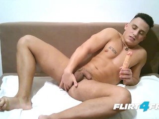 Hot Euro Stud Strokes His Big Uncut Cock & Anal Play