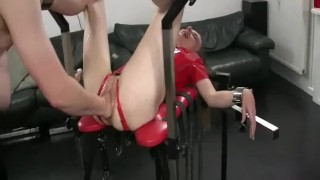 Fisting and fucking his GFs ass with huge toys