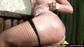 And fishnets up her ass big lathers blonde in breasts tbabe boobs off