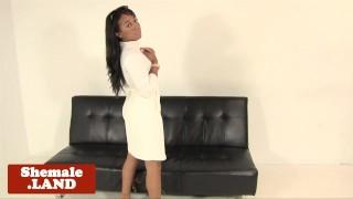 Ebony tgirl masturbating before spreading ass