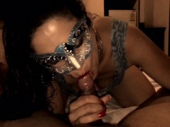 HOT MASKED BRUNETTE SUCKING AND FUCKING A BROWN DICK