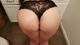 PERFECT ASS GETS SPANKED, PAWG BOOTY SHAKING IN SEXY BLACK LINGERIE PANTIES