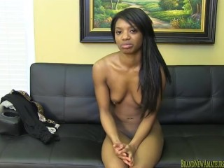 Skinny black amateur Cynthia at casting shows pussy and cocksucking skills