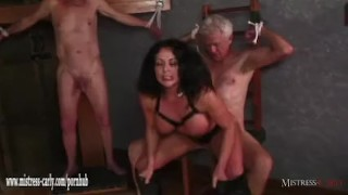 Hot Mistress feeds cuckold slave her hot spunky pussy after big cock fuck