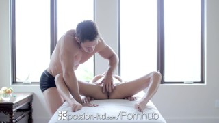 PASSION-HD Two petite brunettes share cock in threesome