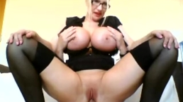 Reverse cowgirl 34JJ slut rides the cock