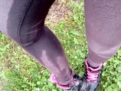 Pee in jeans purple outdoor