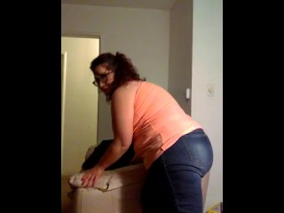 Cute BBW moves couch and rips huge, sexy fart in tight jeans