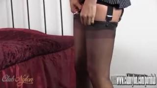 Hot Milf slips her sexy long legs inside new pair of silky nylon stockings Fetish toes