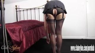 Hot Milf slips her sexy long legs inside new pair of silky nylon stockings Virtual tits