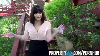 PropertySex - Gorgeous agent with big natural tits fucks homeowner Petite pussy