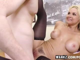 WANKZ- Busty Blond Sarah Vandella Seduces Young Employee