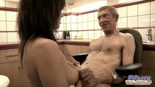 Preview 3 of Old Young Teen hairy pussy fucked by old man she rubs dick swallows jizz