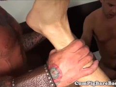 Muscular wolf getting cumshowered by studs
