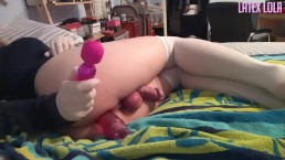 Sissy Lola cums by vibrator and dildo