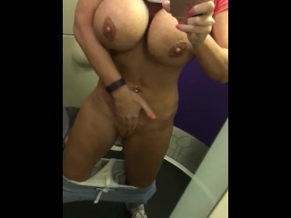 Wet pussy sounds 34JJ boobs spitting in the train toilet at high speed