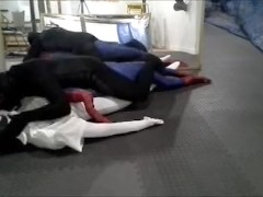 black meshed frogman vs white spandex and spiderman dummy