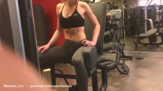 Girlfriend flashing and fucking at the gym!! sexy amateur leolulu