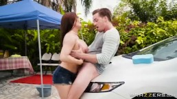 Milf sets up car wash to get some young dick - Brazzers