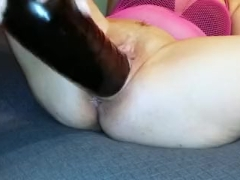 huge Inflatable dildo and pussy fisting close up