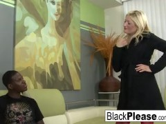 Blonde babe takes a load from a black cock