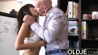 Preview 5 of Asian Young Babe Fucked by bald old man she sucks dick pussy sex swallows