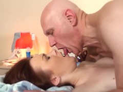 : Step-Daughter Fucked Grandfather Teen Blowjob And cumshot licking p...
