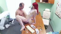 Cute Redhead Rides Doctor for Cash
