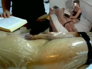 Femdom Handjob Tease in Plastic Wrap While Reading