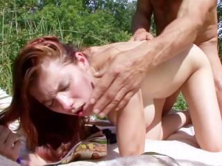 Big tits pregnant redhead fucked and facial