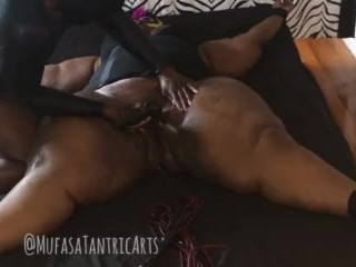 Oiled Up BBW Bound & Whipped by Masked Dom BBC. Then Twerks on Sex Toy