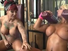 Dani Andrews and Megan Avalon In The Gym Cant Stop Touching Each Other