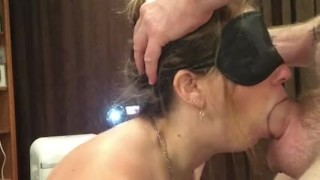 I love gagging on it; make me do it again! blindfolded blowjob by hot wife