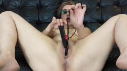 Milf masturbates with panties inside her pussy