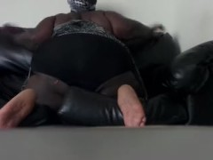 Ebony Stepmom dancing on the couch