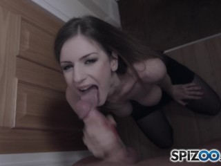 Spizoo - Stella Cox sucked my friend off and showed her nice perky titties